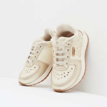 Klin Studded Sneakers with Elasticated Laces and Slip-On Closure