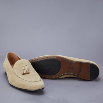 Duchini Stitch Detail Slip-On Shoes with Tassels