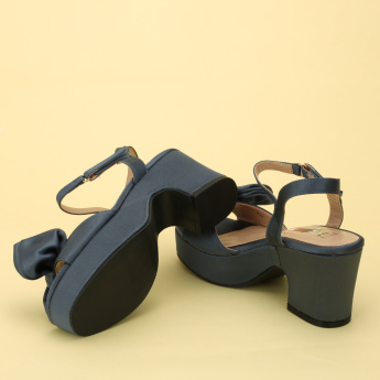 Elle Bow Detail Block Heel Sandals with Hook and Loop Closure