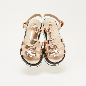Molekinha Bebe Metallic Ankle Strap Sandals