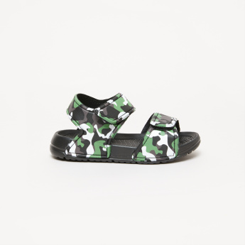 Printed Sandals with Hook and Loop Closure