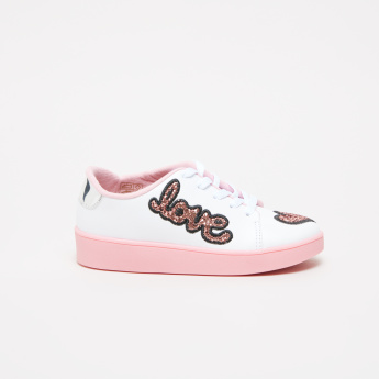 Molekinha Embroidered and Glitter Lace-Up Sneakers