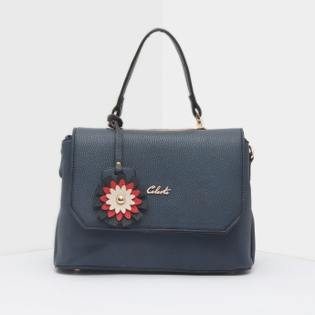 Celeste Textured Handbag with Flap and Adjustable Strap