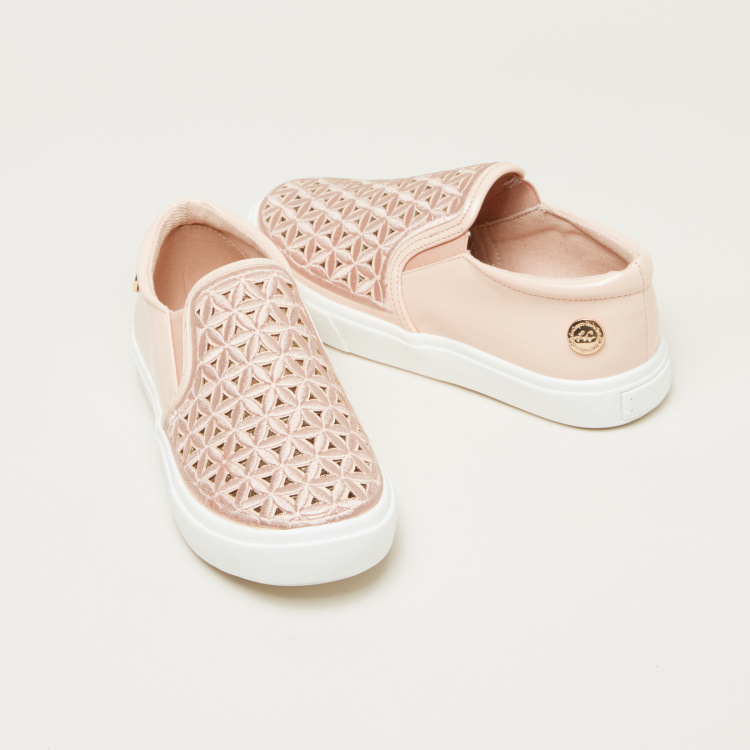 Lee Cooper Slip-On Shoes with Laser Cut Detail and Elasticised Gussets