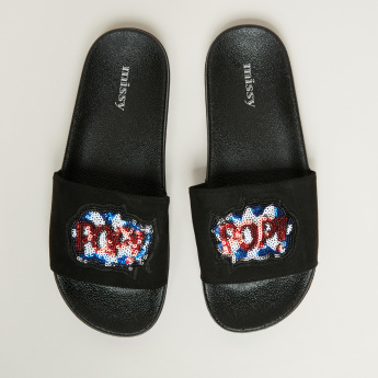 Missy Textured Slides with Sequin Detail