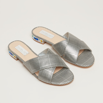 Houndstooth Printed Cross Strap Sandals