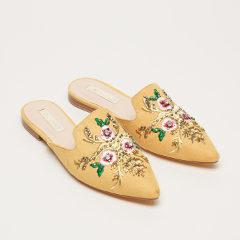 Paprika Embroidered Slides with Embellishment
