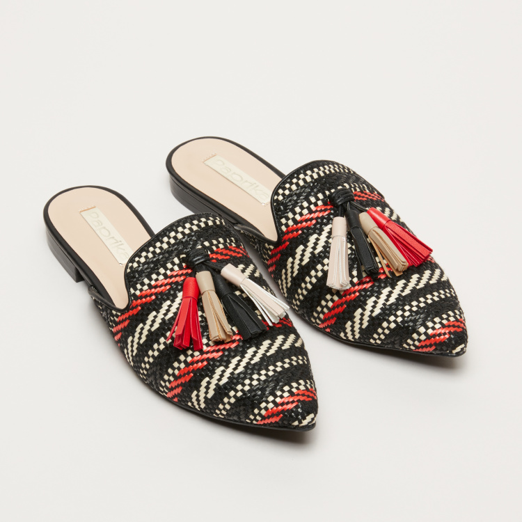 Paprika Textured Mules with Tassels