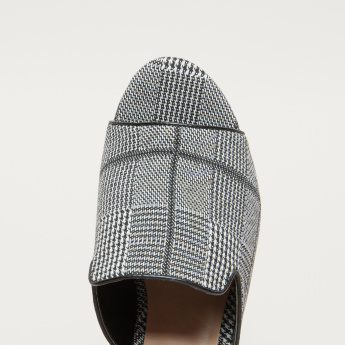 Chequered Block Heel Slides