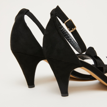 Ankle Strap Sandals with Cone Heels and Bow Applique