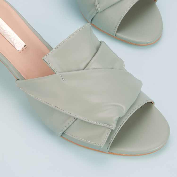 Paprika Kitten Heel Slides with Flap Detail