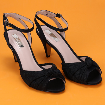 Celeste Bow Detail Mid Heel Shoes with Ankle Strap and Buckle Closure