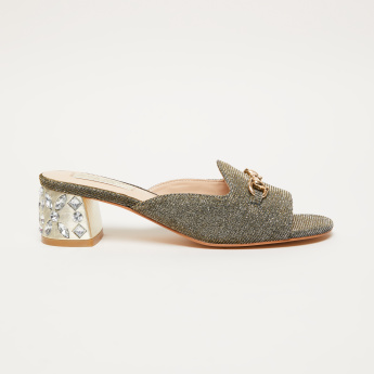 Textured Slides with Embellished Block Heels and Medallion Applique