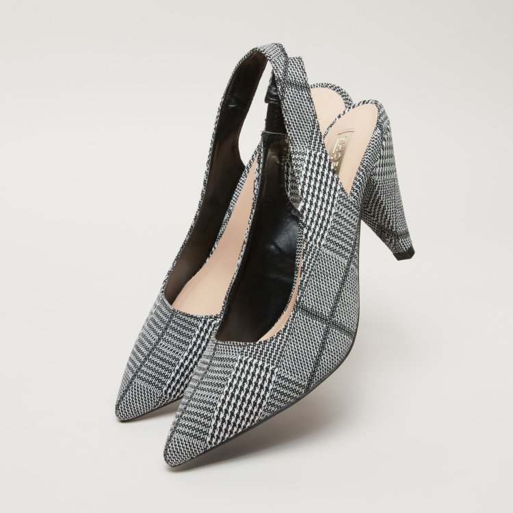 Chequered High Heel Sling Back Shoes