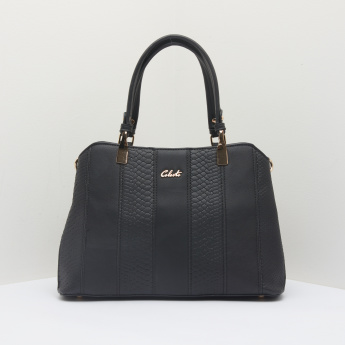 Celeste Textured Handbag with Zip Closure and Twin Handles