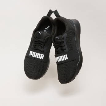 PUMA Textured Lace-Up Sneakers with Vamp Band
