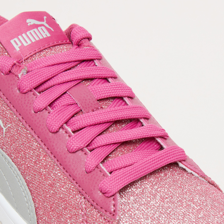 PUMA Lace-Up Sneakers with Glitter Detail