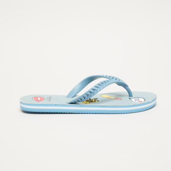 Printed Flip Flops with Textured Straps