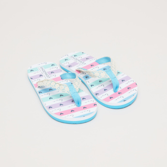 Printed Flip Flops with Lace Detail