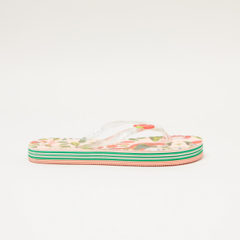 Little Missy Printed Flip Flops with Applique Detail