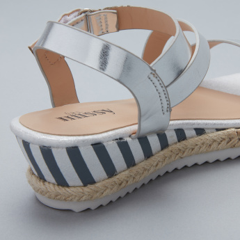 Little Missy Striped Sandals with Hook and Loop Closure