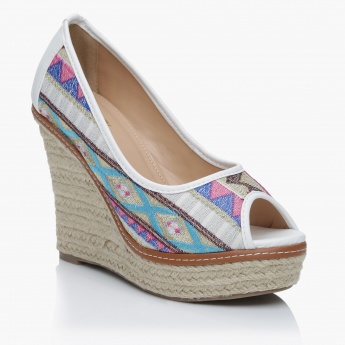 Missy Embroidered Slip-On Wedge Shoes