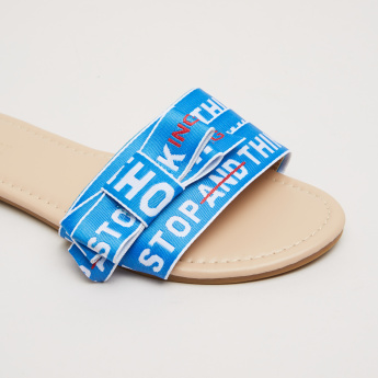 Slogan Printed Slides with Bow Detail