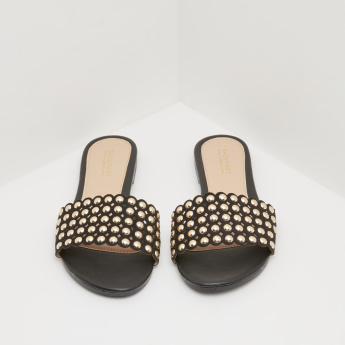 Studded Slides with Slip-On Closure