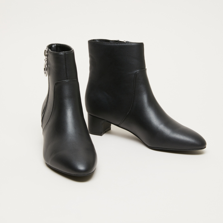 Block Heel Boots with Zip Closure