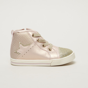 Juniors High Top Boots with Glitter Detail and Zip Closure