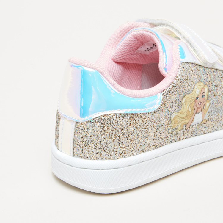 Barbie Glitter Sneakers with Hook and Loop Closure