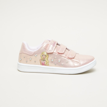 Barbie Printed and Pearl Detail Sneakers with Hook and Loop Closure