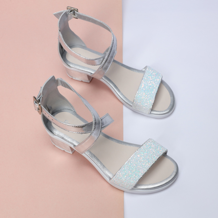 Pampili Glitter Sandals with Buckle Closure