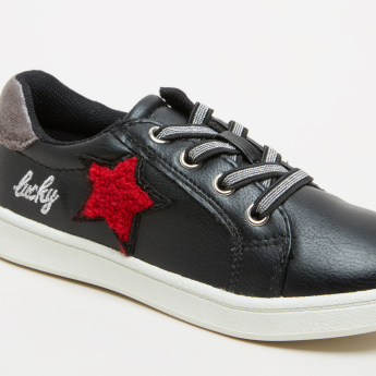 Applique Detail Sneakers with Zip Closure