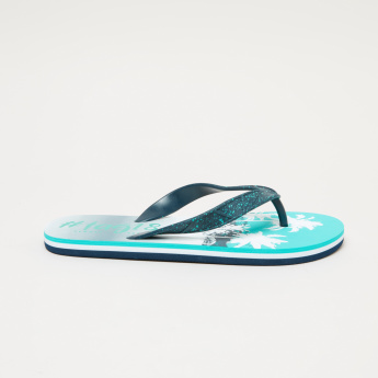 Juniors Printed Flip Flops with Textured Straps