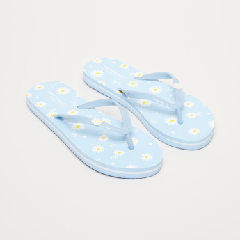 Floral Printed Flip-Flops with Flower Applique