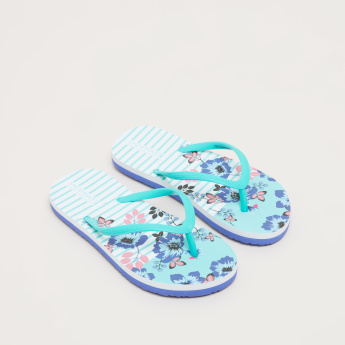 Floral Printed Flip Flops with Textured Straps