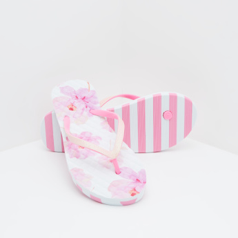 Floral Printed Slides with Slip-On Closure