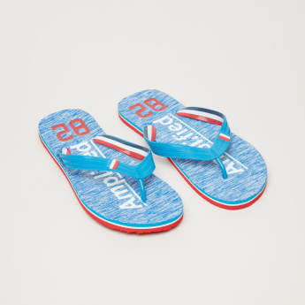 Printed Footbed Flip Flops with Textured Straps
