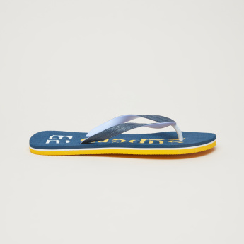 Printed Flip Flops with Textured Straps and Footbed