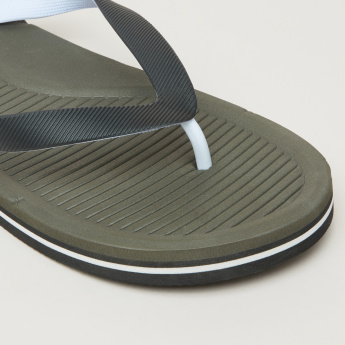 Flip Flops with Textured Footbed and Straps