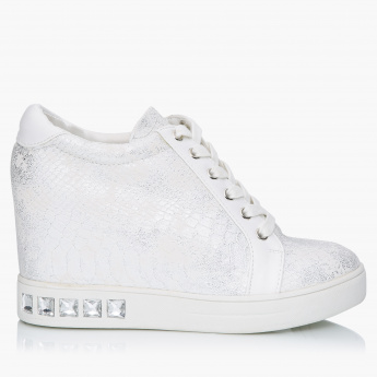 Celeste Embellished Sneakers with Lace Detail