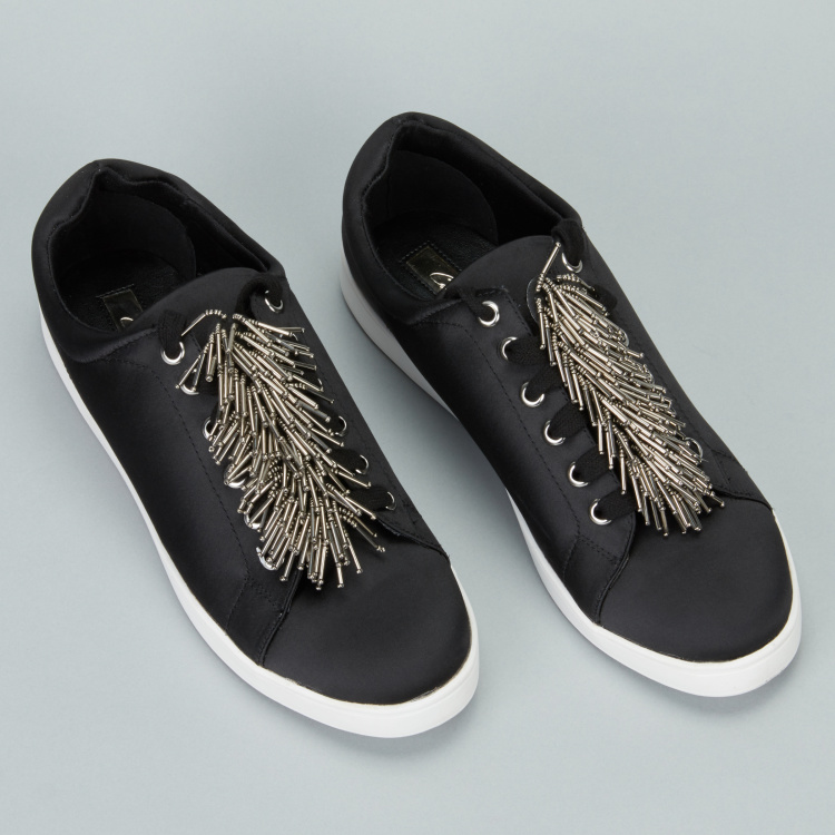 Celeste Beaded Lace-Up Sneakers