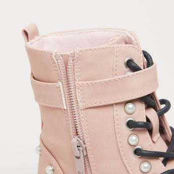Barbie Pearl Detail High Top Boots