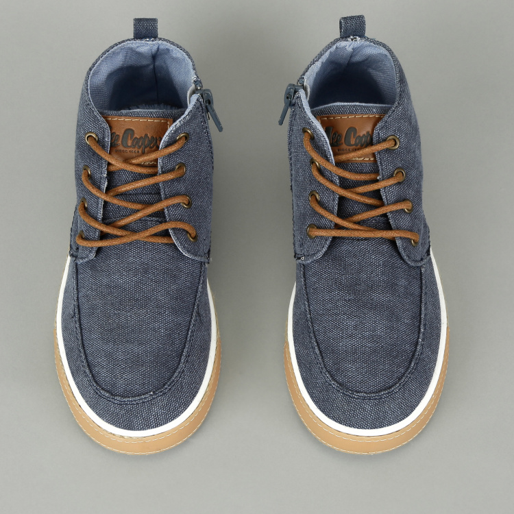 Lee Cooper Textured Lace-Up Shoes with Zip Detail
