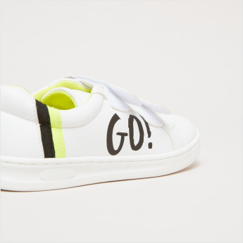 Printed Sneakers with Hoop and Loop Closure