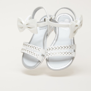 Pampili Embellished Bow Detail Sandals with Hook and Loop Closure