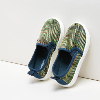 Juniors Textured Slip-On Sneakers with Elasticised Gussets