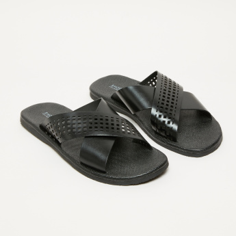 Crossed Strap Slides with Cutout Detail