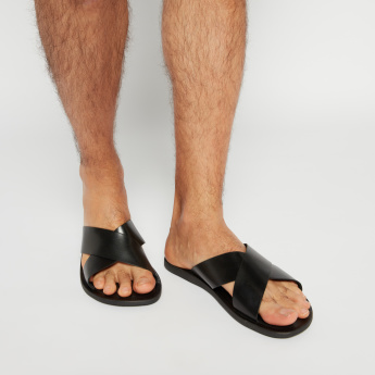 Slip-on Sandals with Cross Straps